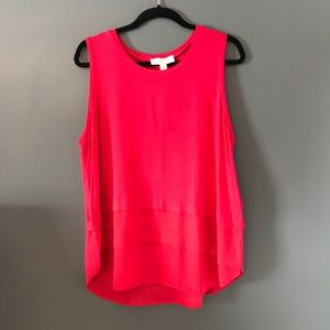 Michael Kors red tank top with sheer bottom XL